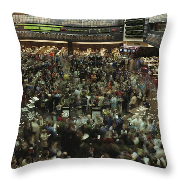 An Elevated View Of Traders Throw Pillow by Michael S. Lewis