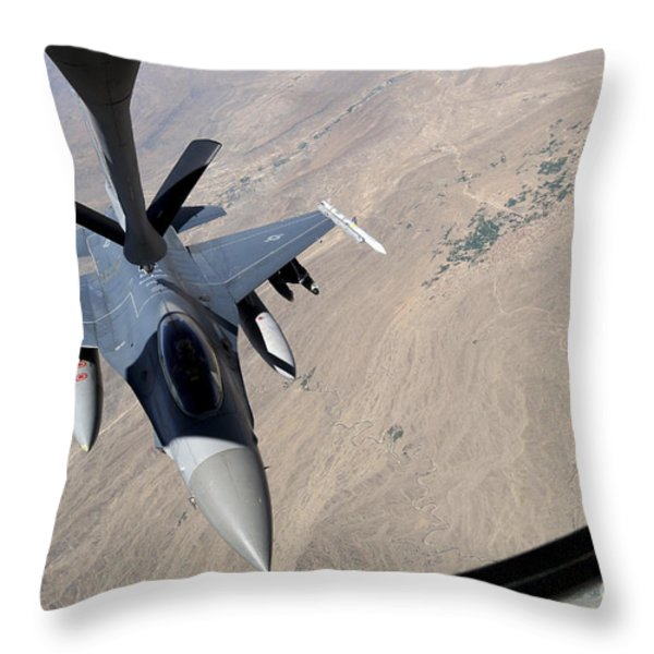 An F-16 Fighting Falcon Receives Fuel Throw Pillow by Stocktrek Images