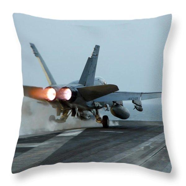 An Fa-18 Hornet Launches Throw Pillow by Stocktrek Images