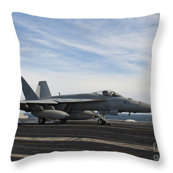 An Fa-18f Super Hornet Takes Throw Pillow by Stocktrek Images