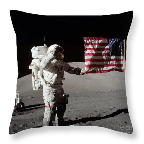 Apollo 17 Astronaut Salutes The United Throw Pillow by Stocktrek Images