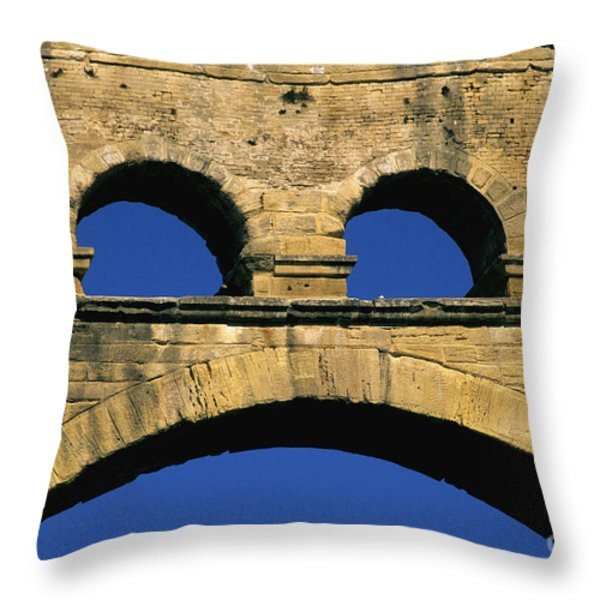 Aqueduc Du Pont Du Gard.provence Throw Pillow by Bernard Jaubert