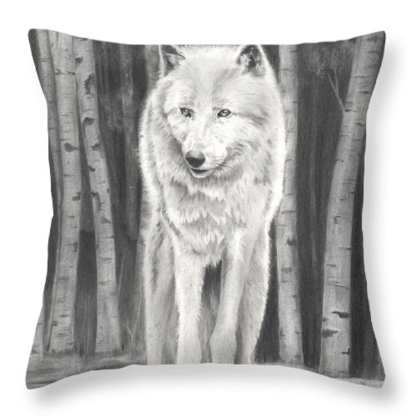 Arctic Wolf Throw Pillow by Christian Conner