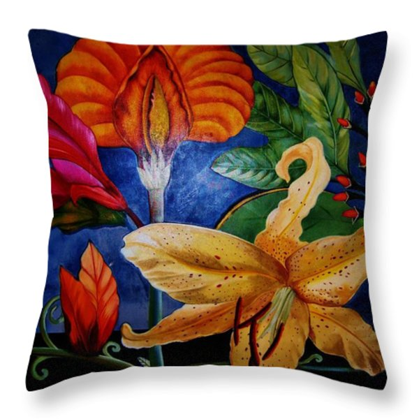 Art Deco Flowers 4 Throw Pillow by Gunter  Hortz