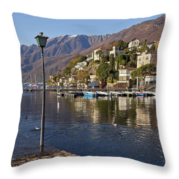 Ascona - Lake Maggiore Throw Pillow by Joana Kruse