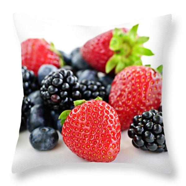 Assorted fresh berries Throw Pillow by Elena Elisseeva