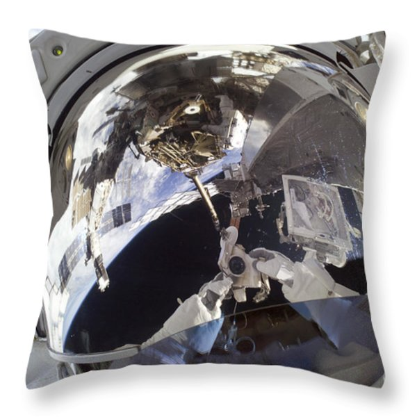 Astronaut Uses A Digital Still Camera Throw Pillow by Stocktrek Images