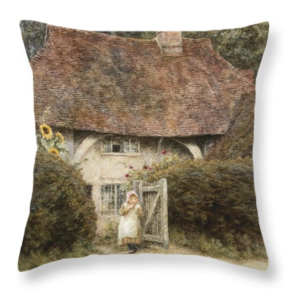 At The Cottage Gate Throw Pillow by Helen Allingham