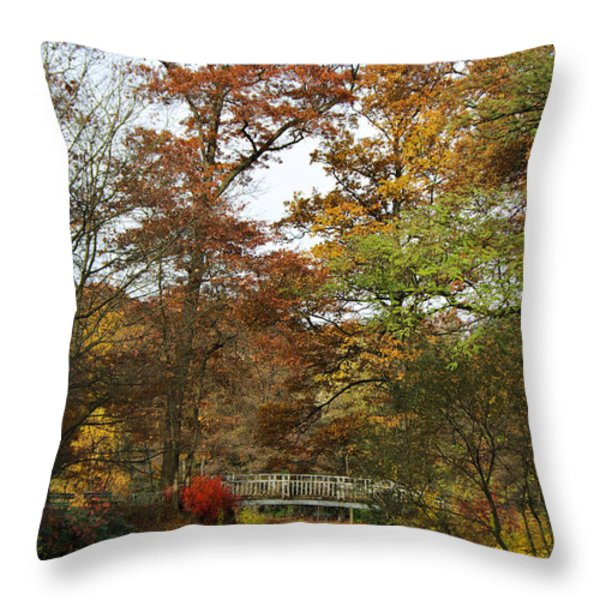 Autumn forest Throw Pillow by Angela Doelling AD DESIGN Photo and PhotoArt