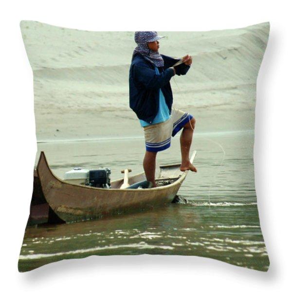 Balancing  Act  Throw Pillow by Bob Christopher