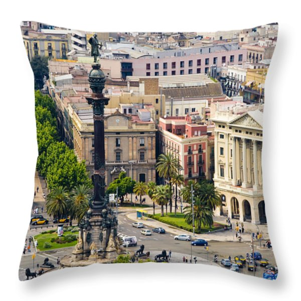 Barcelona With Tree-lined Las Ramblas Throw Pillow by Annie Griffiths