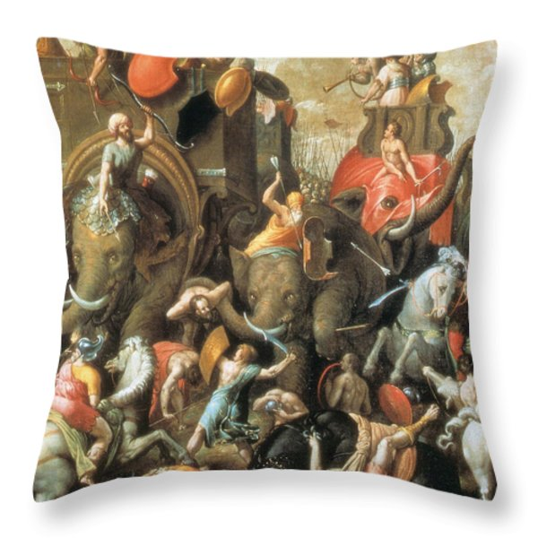 Battle Of Zama Hannibals Defeat Throw Pillow by Photo Researchers