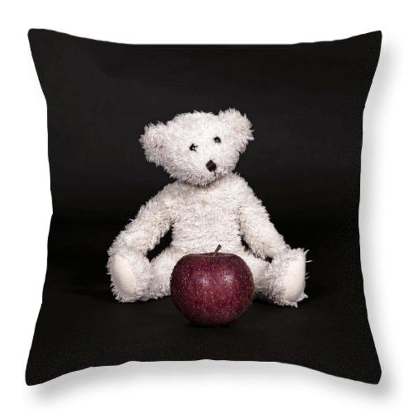 Bear And Apple Throw Pillow by Joana Kruse