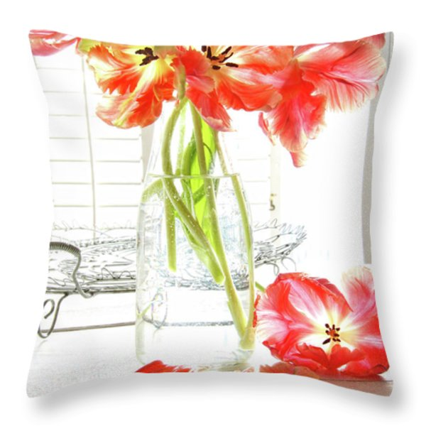 Beautiful tulips in old milk bottle  Throw Pillow by Sandra Cunningham