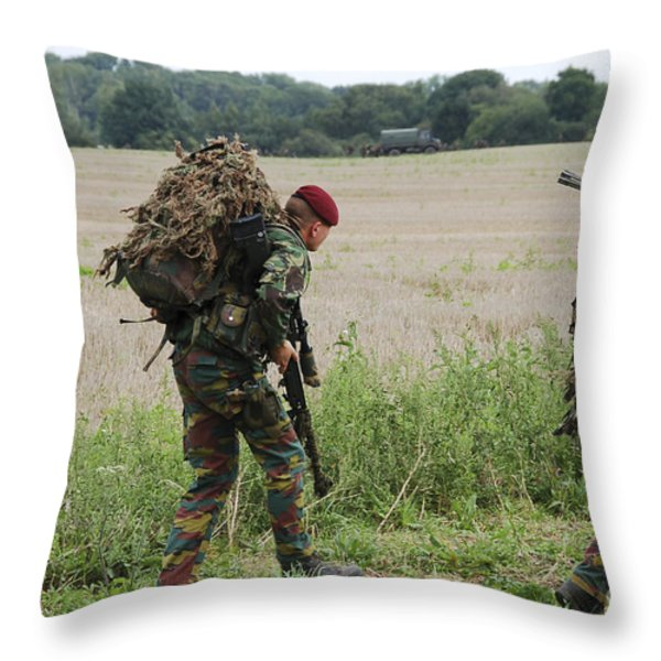 Belgian Paratroopers Red Berets Throw Pillow by Luc De Jaeger