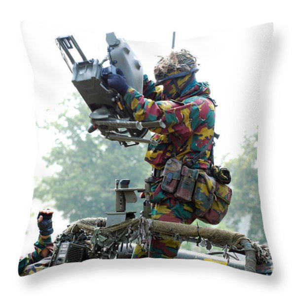 Belgian Soldiers Setting Up The Milan Throw Pillow by Luc De Jaeger
