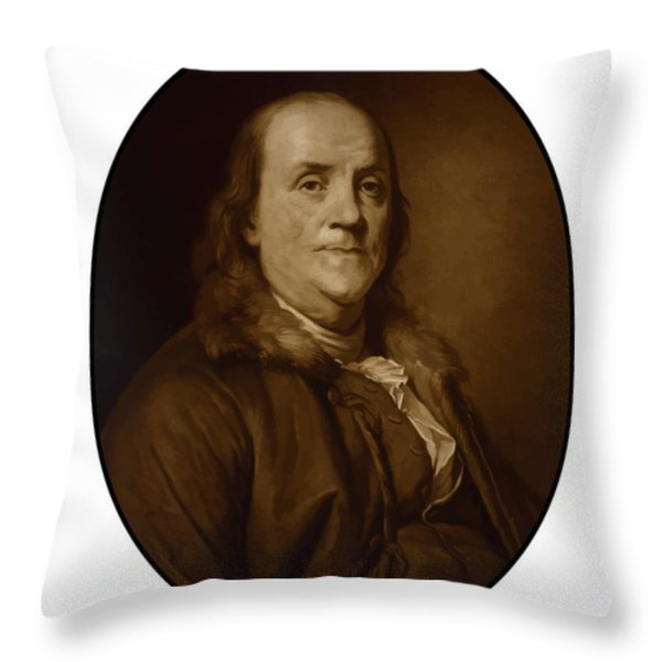 Benjamin Franklin Throw Pillow by War Is Hell Store