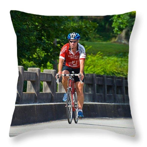 Bicycle Ride Across Georgia Throw Pillow by Susan Leggett
