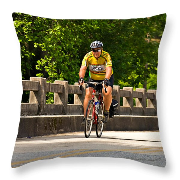 Bike Ride Across Georgia Throw Pillow by Susan Leggett