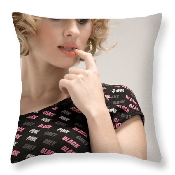 Blond Lady Throw Pillow by Ralf Kaiser