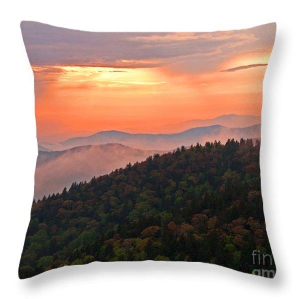 Blue Ridge Sunset Throw Pillow by Bob and Nancy Kendrick
