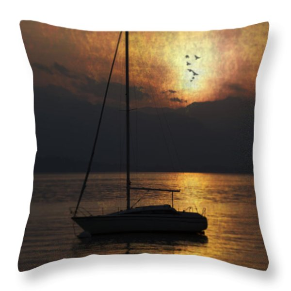 boat in sunset Throw Pillow by Joana Kruse