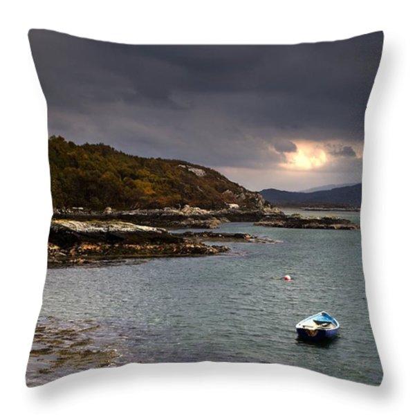 Boat In Water, Loch Sunart, Scotland Throw Pillow by John Short