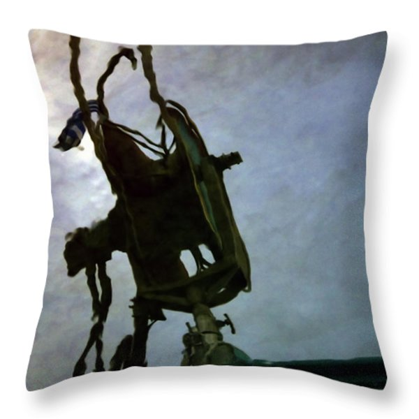 Boat Reflections In Oily Sea Throw Pillow by Stylianos Kleanthous