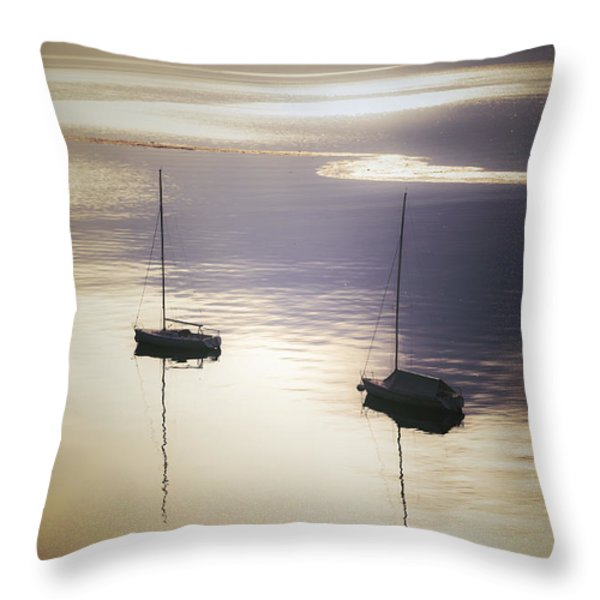 Boats In Mist Throw Pillow by Joana Kruse