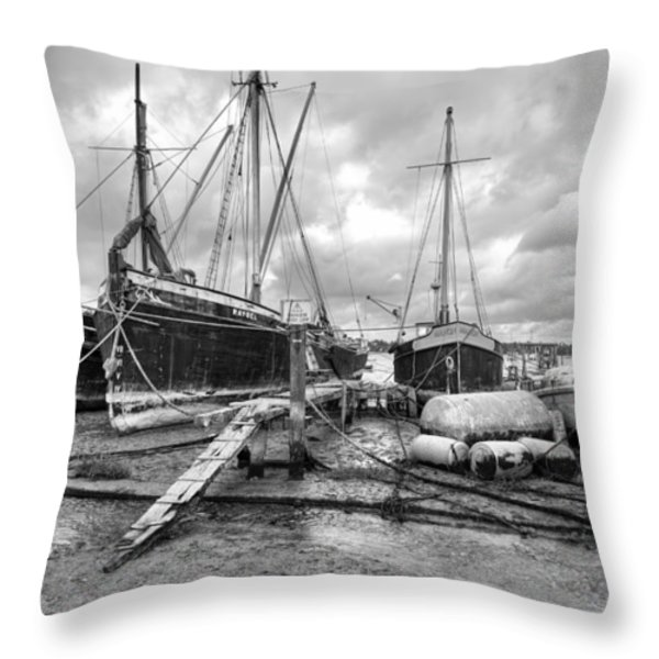 Boats On The Hard Pin Mill Throw Pillow by Gary Eason