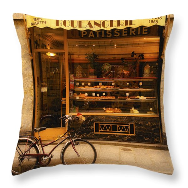 Boulangerie And Bike Throw Pillow by Mick Burkey