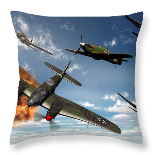 British Hawker Hurricane Aircraft Throw Pillow by Mark Stevenson