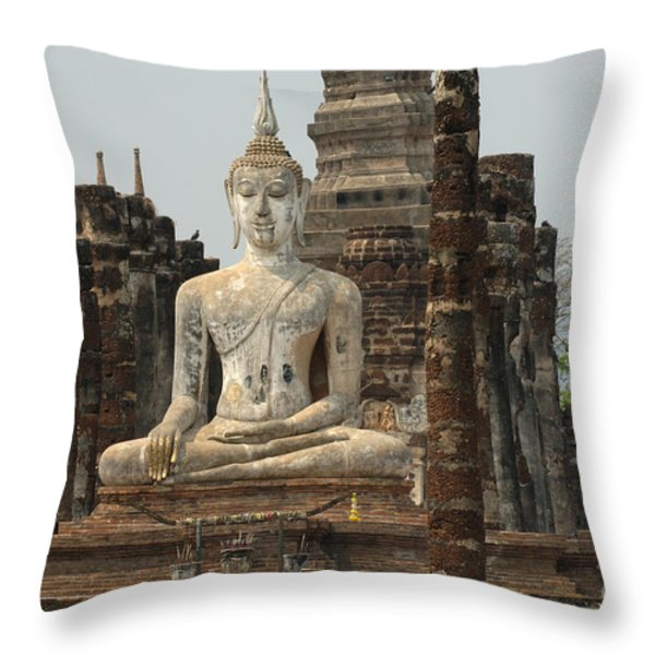 Buddha At Sukhothai Throw Pillow by Bob Christopher