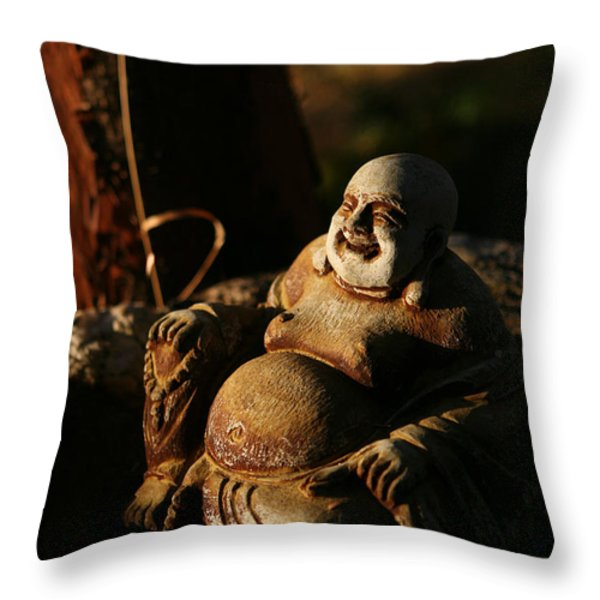 Buddha Of The Forest Throw Pillow by Lorraine Devon Wilke