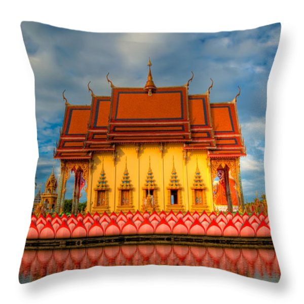 Buddha Temple Throw Pillow by Adrian Evans