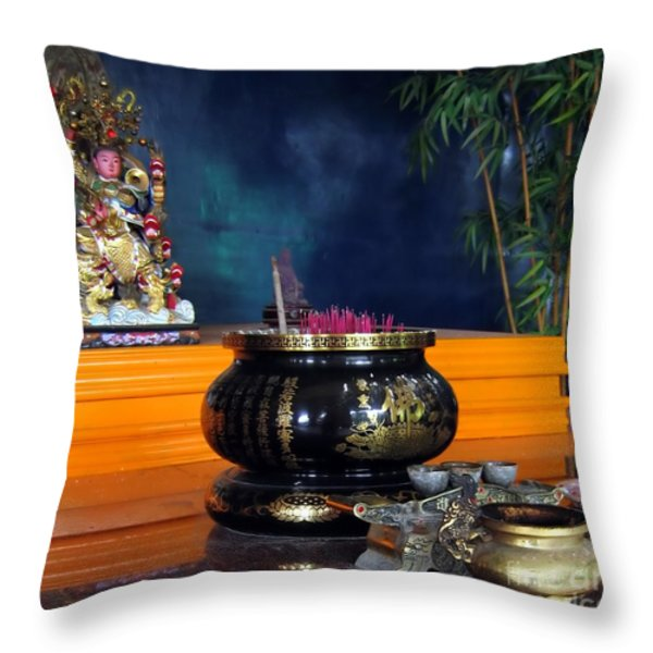 Buddhist Altar Throw Pillow by Yali Shi