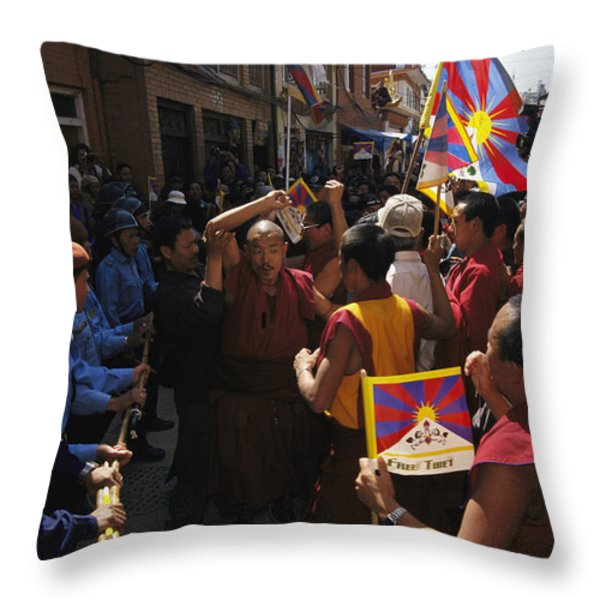 Buddhist Monks And Nuns Wage A Protest Throw Pillow by Maria Stenzel