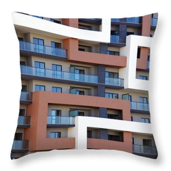 Building Facade Throw Pillow by Carlos Caetano