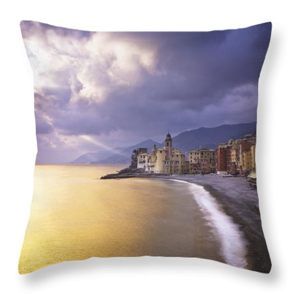 Buildings Along The Coast At Sunset Throw Pillow by David DuChemin