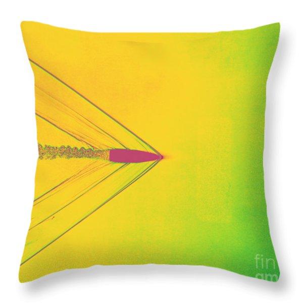 Bullet Through Air Throw Pillow by Omikron