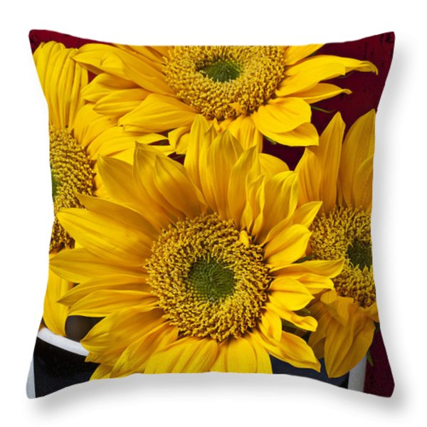 Bunch Of Sunflowers Throw Pillow by Garry Gay
