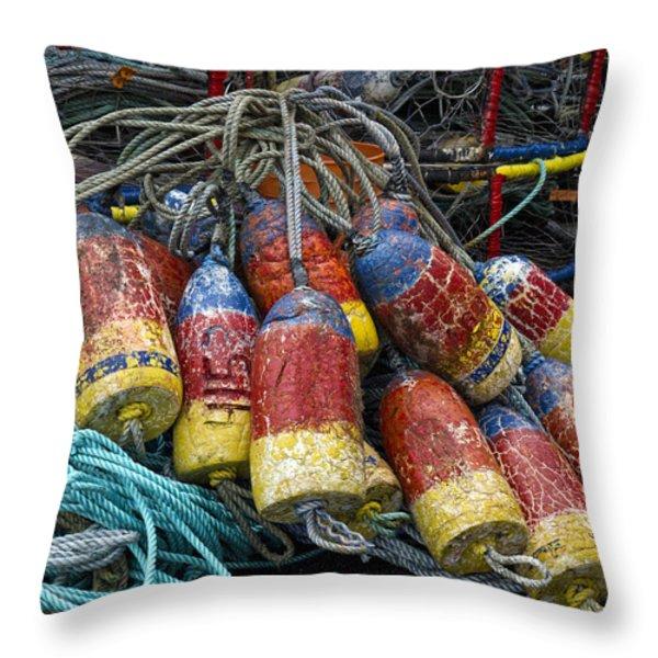 Buoys And Crabpots On The Oregon Coast Throw Pillow by Carol Leigh