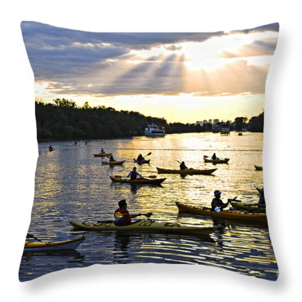 Canoeing Throw Pillow by Elena Elisseeva