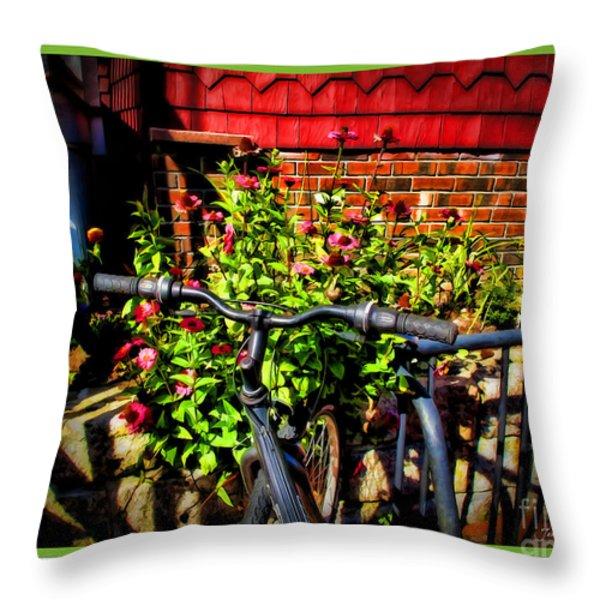Cape Cod Bike Throw Pillow by Joan  Minchak