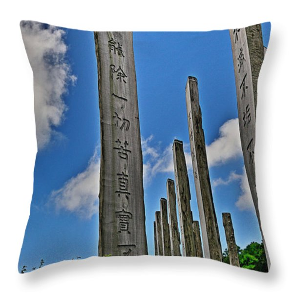 Carvings Of Buddhist Teachings Throw Pillow by Joe  Ng