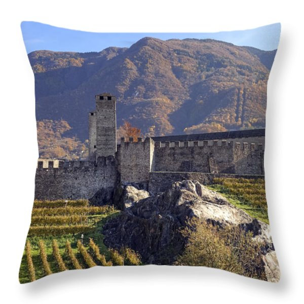 Castelgrande - Bellinzona Throw Pillow by Joana Kruse