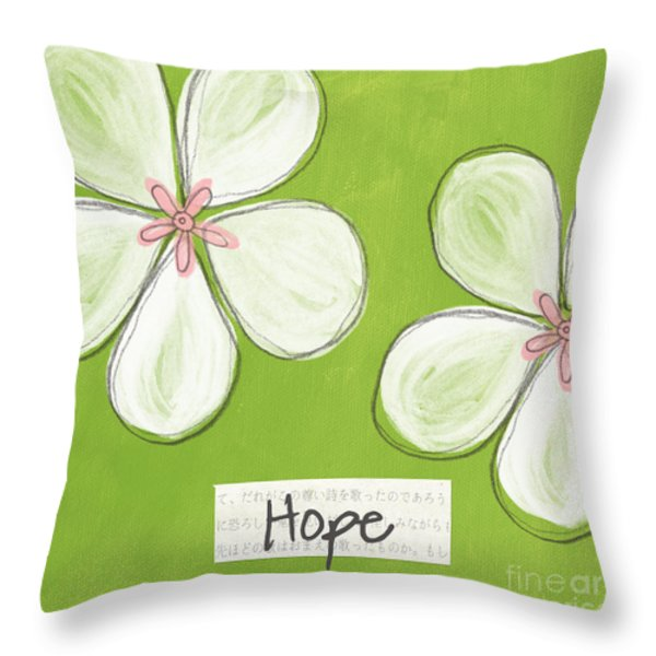 Cherry Blossom Hope Throw Pillow by Linda Woods