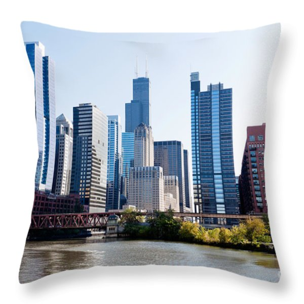 Chicago River Skyline With Sears-willis Tower Throw Pillow by Paul Velgos