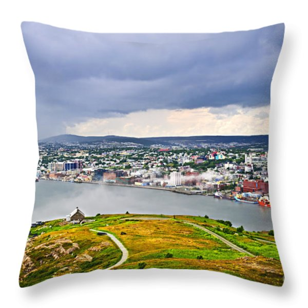 Cityscape Of Saint John's From Signal Hill Throw Pillow by Elena Elisseeva