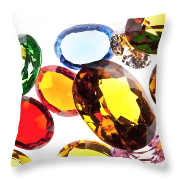 colorful gems Throw Pillow by Setsiri Silapasuwanchai